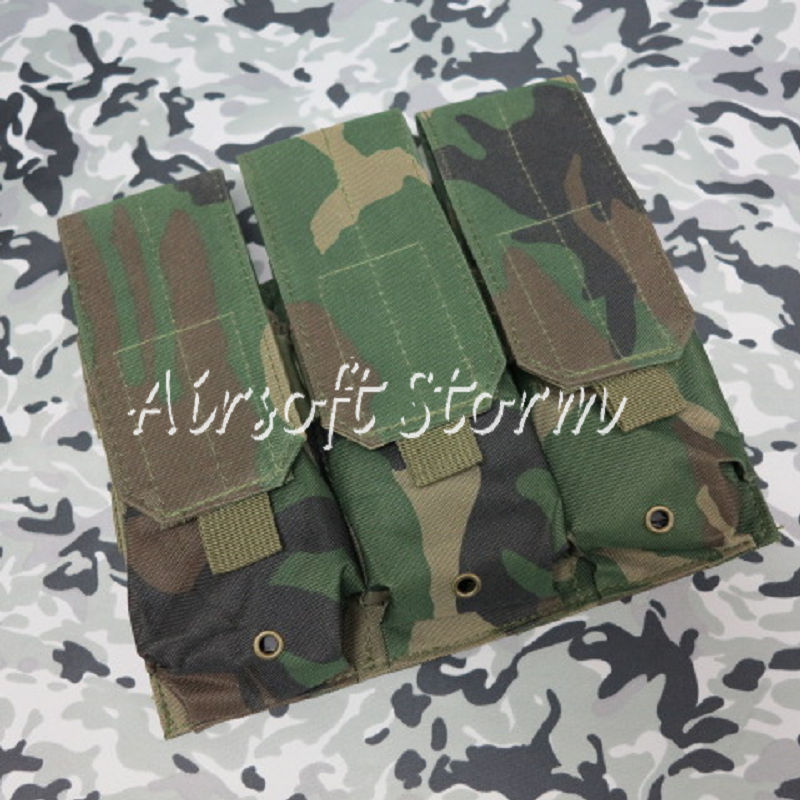 Airsoft SWAT Tactical Molle Assault Combat Triple Magazine Pouch Woodland Camo