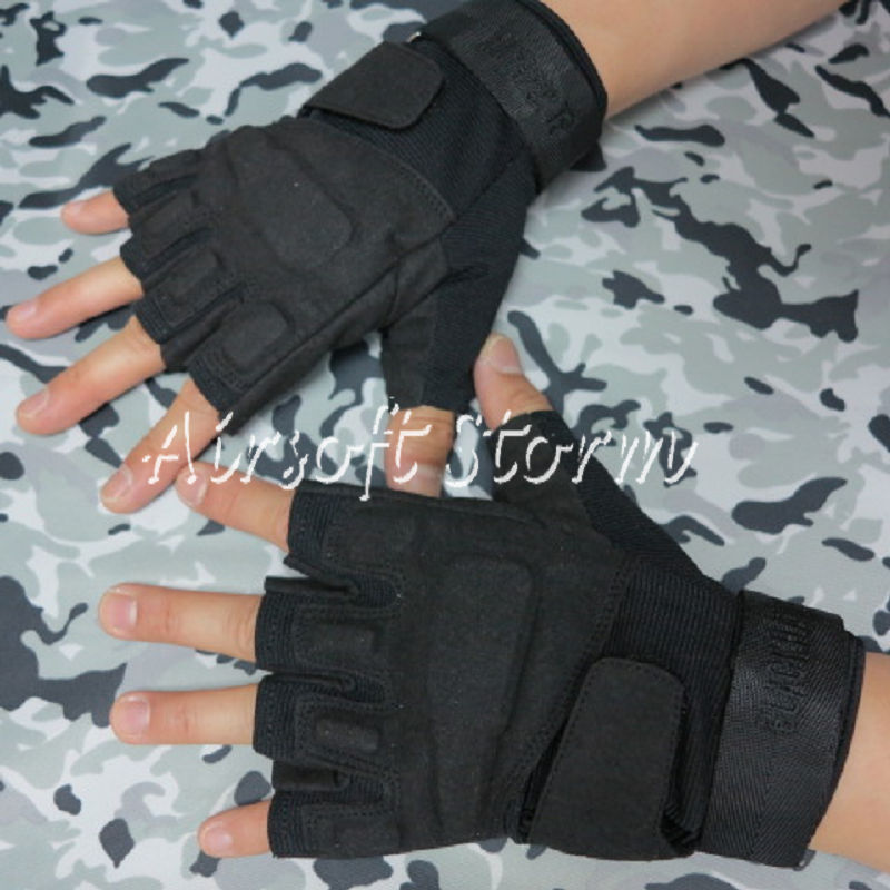 Airsoft SWAT Special Operation Tactical Half Finger Assault Gloves Black