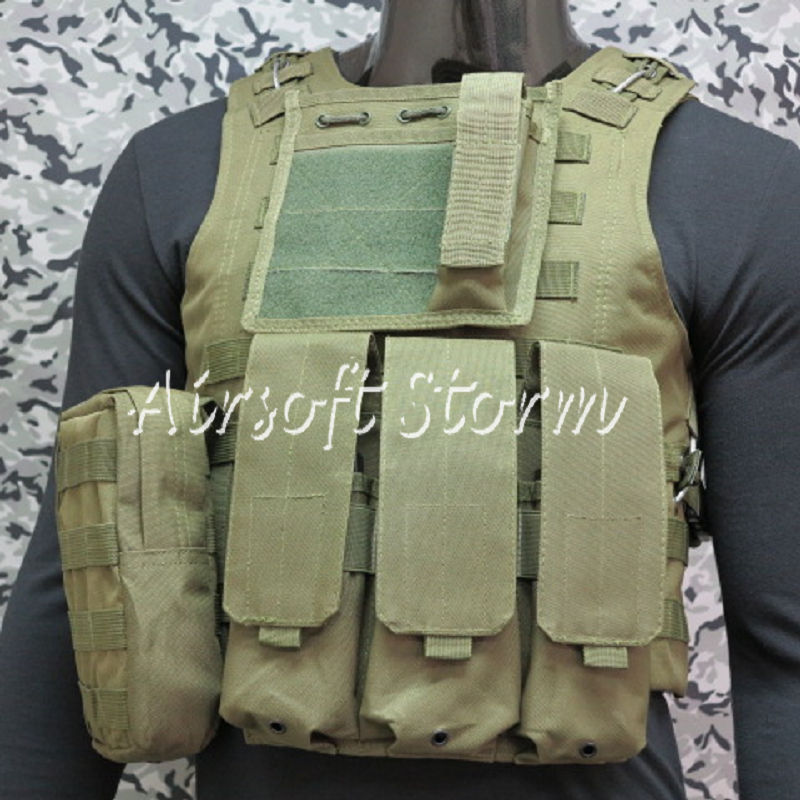 Airsoft Tactical Gear Molle Assault Plate Carrier Combat Vest Olive Drab OD