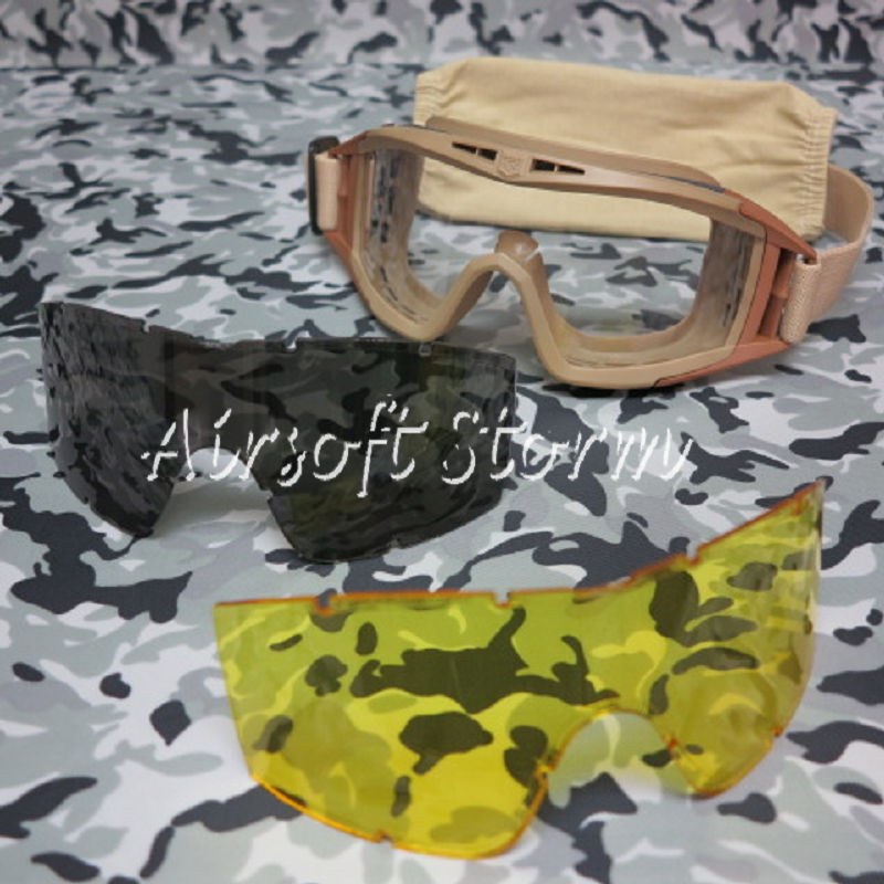 Tactical Desert Goggle Glasses Tan with 3 Replaceable Lens