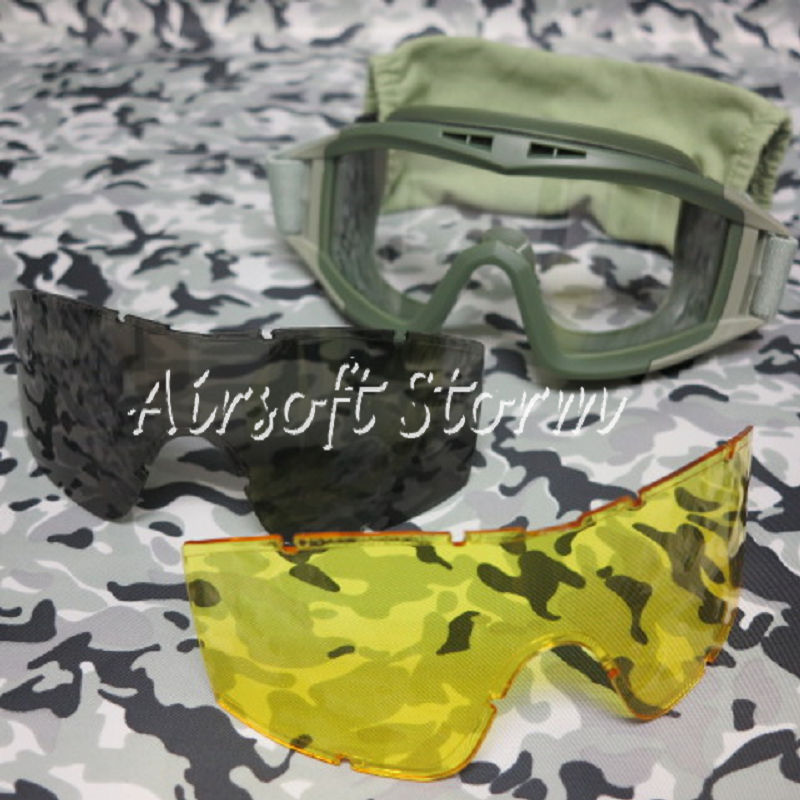 Tactical Desert Goggle Glasses Olive Drab w/ 3 Replaceable Lens